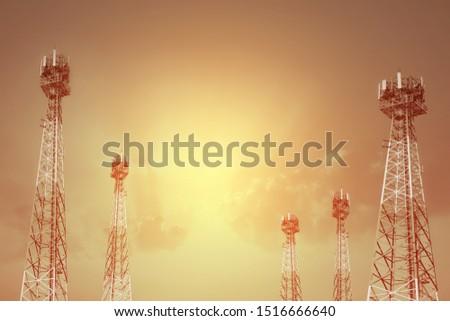 Telecommunication, tower, Telecom broadcast phone antenna with orange sky at sunset.