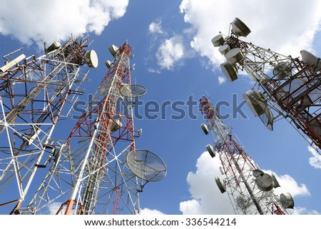 Telecommunication tower with blue sky and cloud