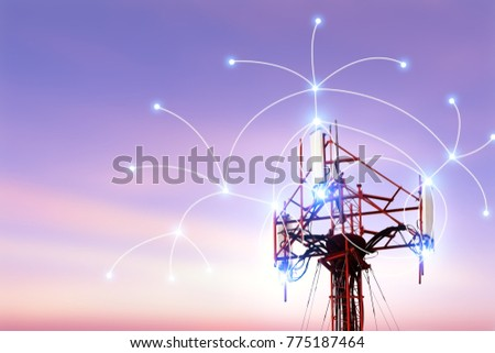 Telecommunication tower with copy space.Digital wireless connection system.Development of communication systems in urban areas.Modern Business Concept.Antenna.3d illustration