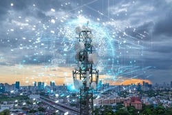 Telecommunication tower with 5G cellular network antenna on city background, Global connection and internet network concept