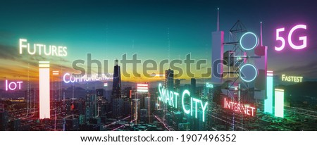 Telecommunication tower with info glowing font and particle glowing light connection design. Future innovative wireless fast network technology concept. 3d rendering