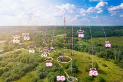 Telecommunication tower with radio antennas and satellite dishes is installed on the rural on the green field with grass, bushes and trees. Concept of harmless of electromagnetic and microwave
