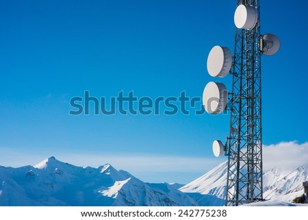 Telecommunication towers in Caucasus mountains #242775238