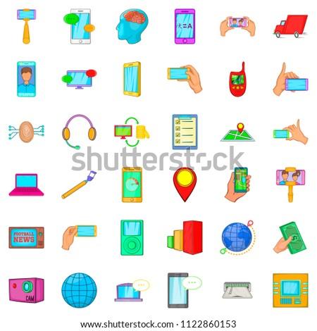 Telecommunication widget icons set. Cartoon set of 36 telecommunication widget icons for web isolated on white background