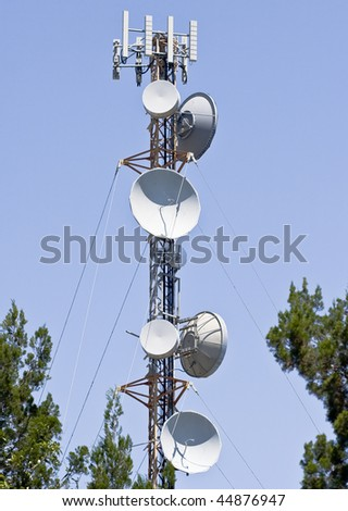 Telecommunications dishes and transmitters on a steel tower