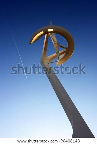 Telecommunications tower designed by Santiago Calatrava. Barcelona Olympic park, Montjuic hill