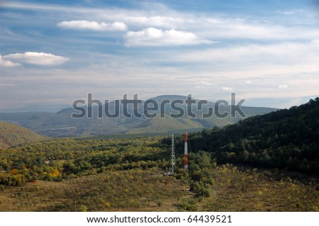 Telecommunications tower in mountains