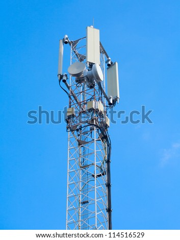 telecommunications tower on a blue sky