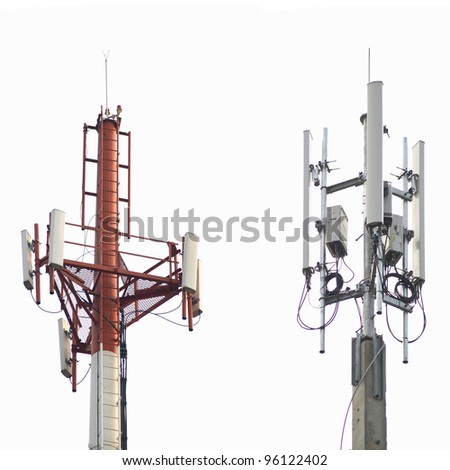 telecommunications tower with different antenna isolated on white - stock photo