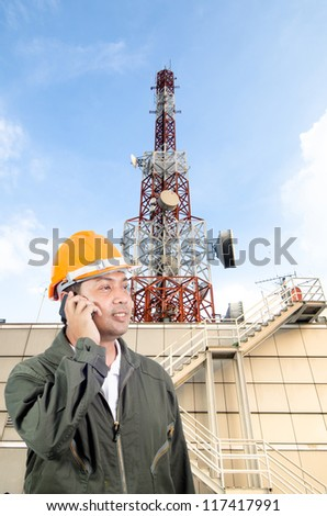 Telecommunications tower with Engineer
