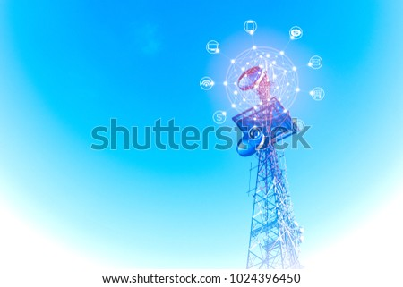 Telecommunications tower with with icon of internet, e-mail, cloud technology, smart phone, computer, wireless signal and banking. The concept of connecting to online service, 3D illustration