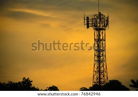 Telecommunications towers near the secret sky after the Sun.