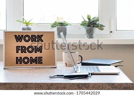 Telecommuting amid the spread of Covid-19. Home office and telecommuting concept Stock photo ©