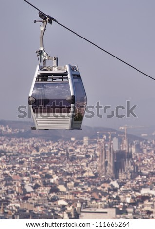 Teleferic of Montjuic, Barcelona with Sagrada Familia cathedral in blur background