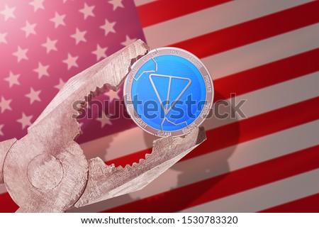 Telegram Gram regulation in USA; gram coin is under pressure; ton blockchain Stok fotoğraf ©
