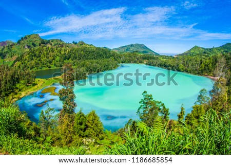 Teleng Warna Dieng is one of the tourism objects in the Dieng Plateau, Wonosobo Regency, Central Java. This lake is one of the mainstay tourist destinations in Wonosobo Regency, Indonesia.