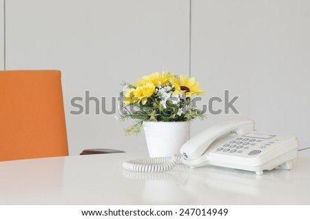 telephone and flower in vase on desk, for Business