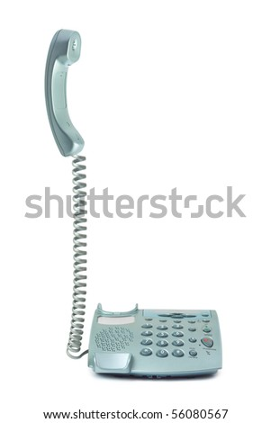 Telephone and receiver isolated on white background
