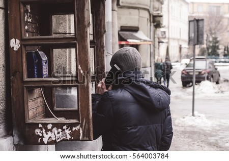 telephone booth, people