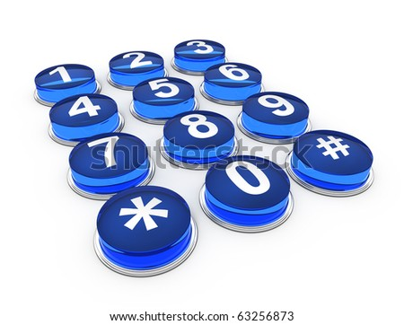telephone buttons on white background