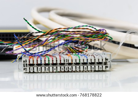 Telephone cabling patch panel with twisted pairs cables for digital and analog phone connection #768178822