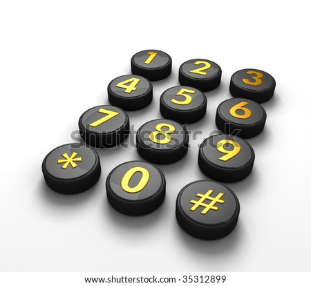 Telephone contact number button in white background 3d illustration