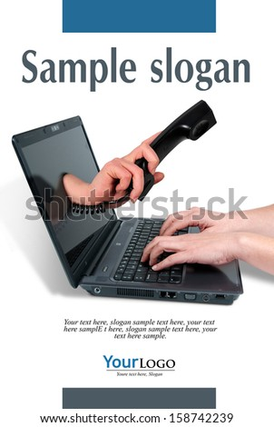 telephone hand leaving the screen of a computer, with example texts     - stock photo