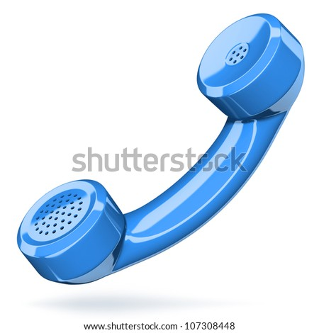 Telephone handset on white - contact 3d concept