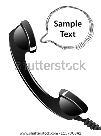 Telephone handset with talk bubble isolated on the white background