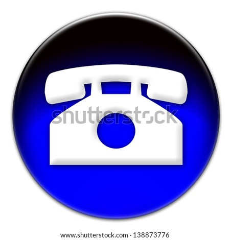 Telephone icon on a blue glassy button isolated on white background