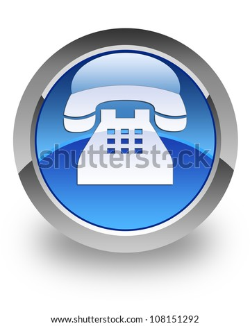 Telephone icon on glossy blue round button #108151292