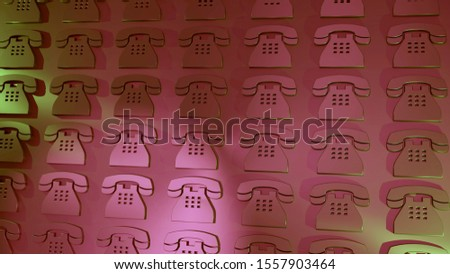 Telephone icons. Communication symbols. 3D rendered image. Metallic surface. Array on a wall. Pattern. Symbolism for contact information and phone numbers. High definition.