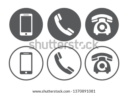 Telephone icons set on white background