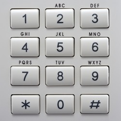 Telephone Keypad with Buttons. Numbers and Letters. Top View close up