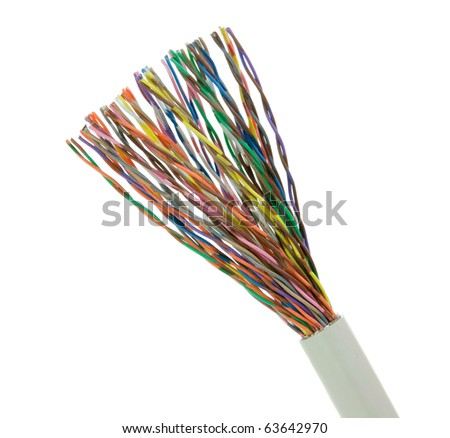 Telephone or telecommunication cable isolated on white