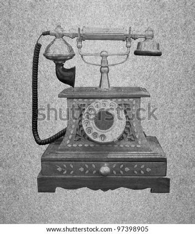 Telephone retro on grunge paper background