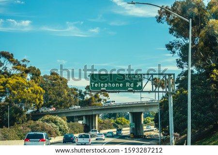 Telephone road exit sign in Pacific Coast Highway south bound. Southern California, USA stock photo