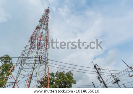 Telephone tower Located among the electric high voltage power poles.It needs a lot of height to transmit signal.mobile phone signaling transmissions require a lot of electric power. #1014055810