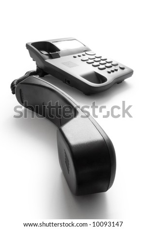 telephone with receiver isolated on white