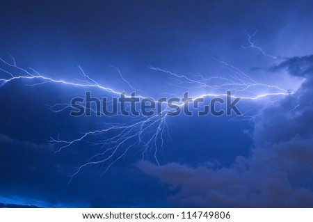 Telephoto of Blue lightning strike during an electrical storm in Florida