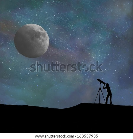 Telescope and person silhouette looking at the moon. Digitally created. #163557935