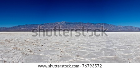 Telescope Peak rises up from the salt floor of Death Valley's lowest point.