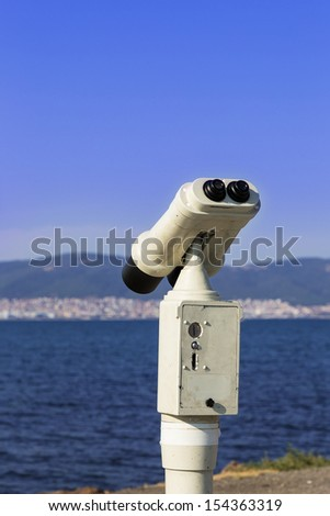 telescope the city, the sea, the mountains, the background