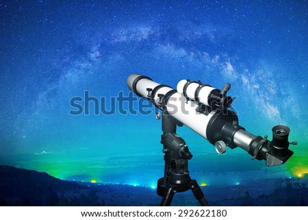 Telescope watching the milky way. Elements of this image furnished by NASA.