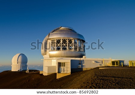 Telescopes on top of Mauna Kea in Hawaii