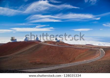 Telescopes on top of Mauna Kea Mountain, Big Island, Hawaii
