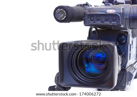 Television Beta camcorder lens in close up,photography ; TV camera