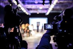 Television Camera Broadcasting a Fashion Show, Catwalk Event.