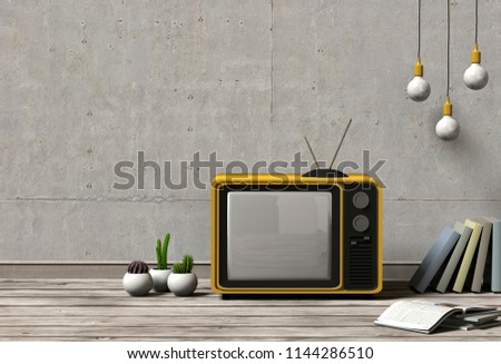 television mock up with plants and books on concrete wall background. 3d rendering. #1144286510
