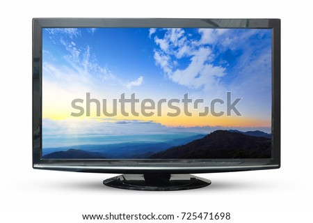 Television of sunrise image isolated on white background. with clipping path